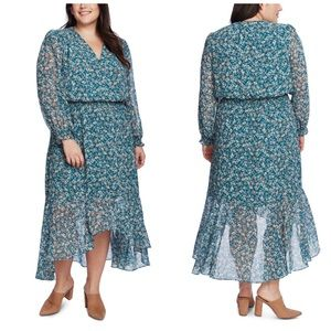 1.State Green Floral High Low Dress Plus Size 3X